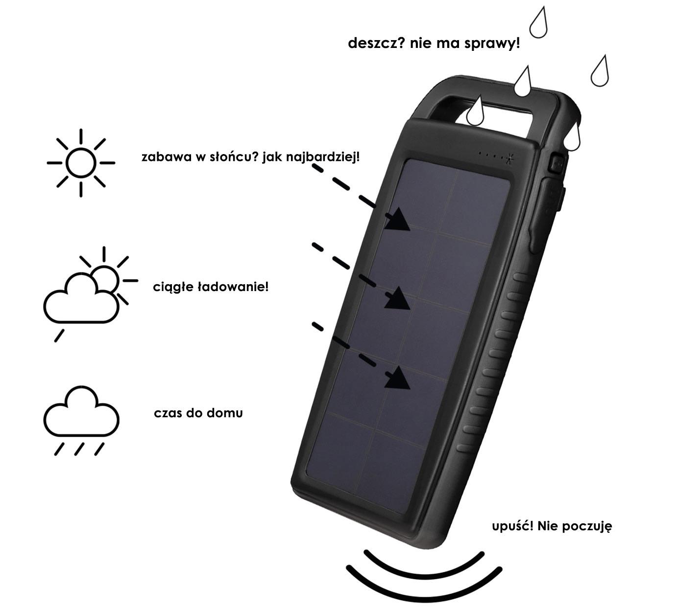 Boompods Waterproof Solar Power Bank | Solaris - deszcz? nie ma sprawy!!